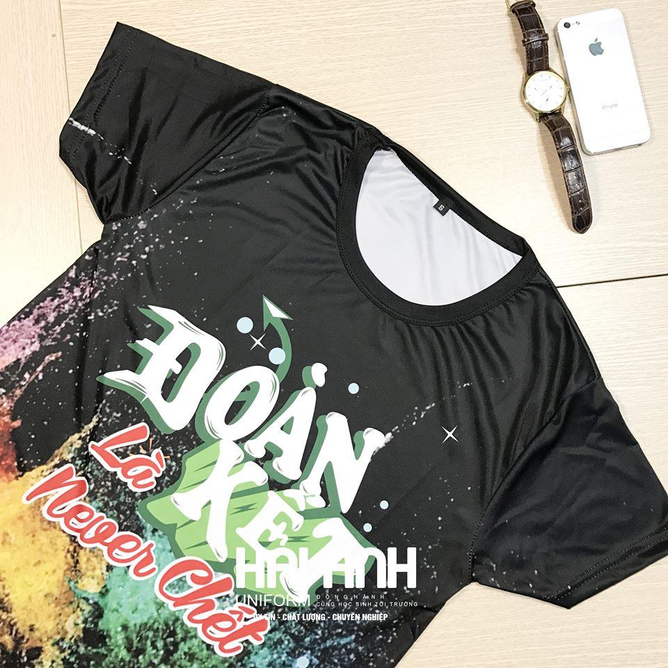 Mẫu áo lớp màu đen thiết kế theo phong cách typography