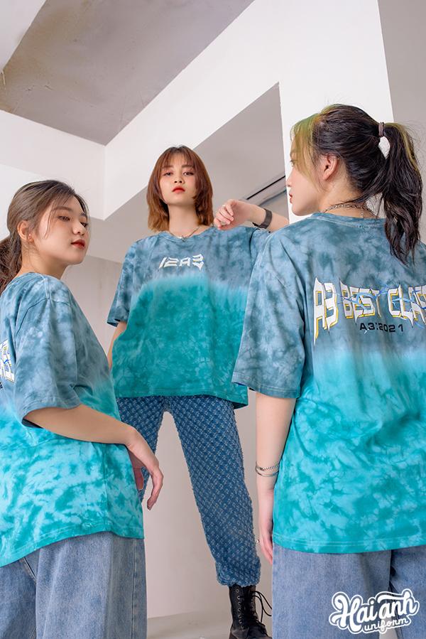 Mẫu áo lớp Patchy Ombre màu Xám Xanh