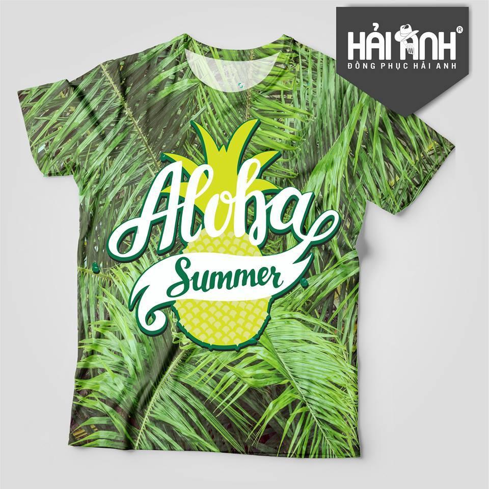 Mẫu áo lớp màu xanh cốm hoa quả- Aloha Summer