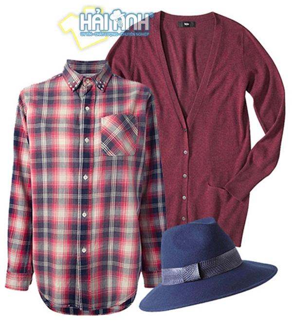 Mix đồ mùa đông với áo cardigan + sơ mi + mũ lịch sự