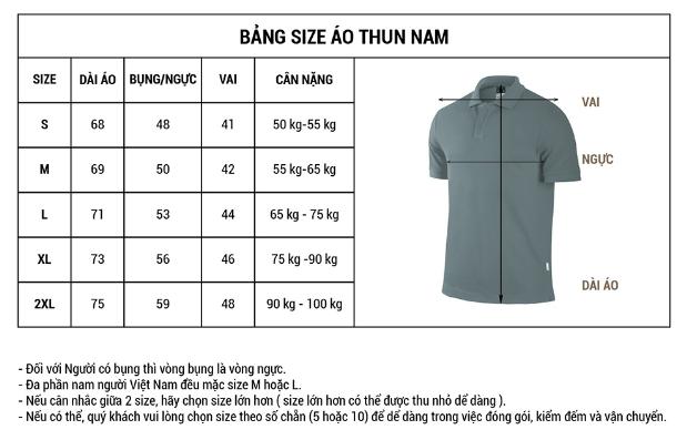 Chọn size áo thun đồng phục lớp cho nam dựa trên thông số size