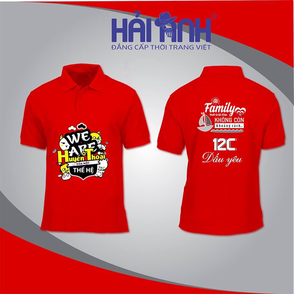 Mẫu áo thun đồng phục có cổ màu đỏ đô của lớp 12C