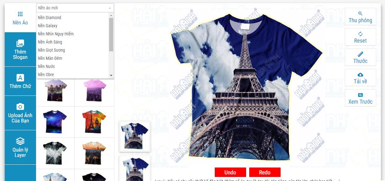 Giao diện chính của Website tự thiết kế áo đồng phục lớp online