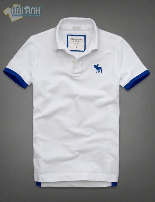 Kiểu áo thun đồng phục cổ trụ màu trắng