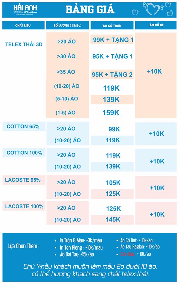 Bảng chất liệu vải của xưởng may áo đồng phục giá rẻ, chất lượng Hải Anh