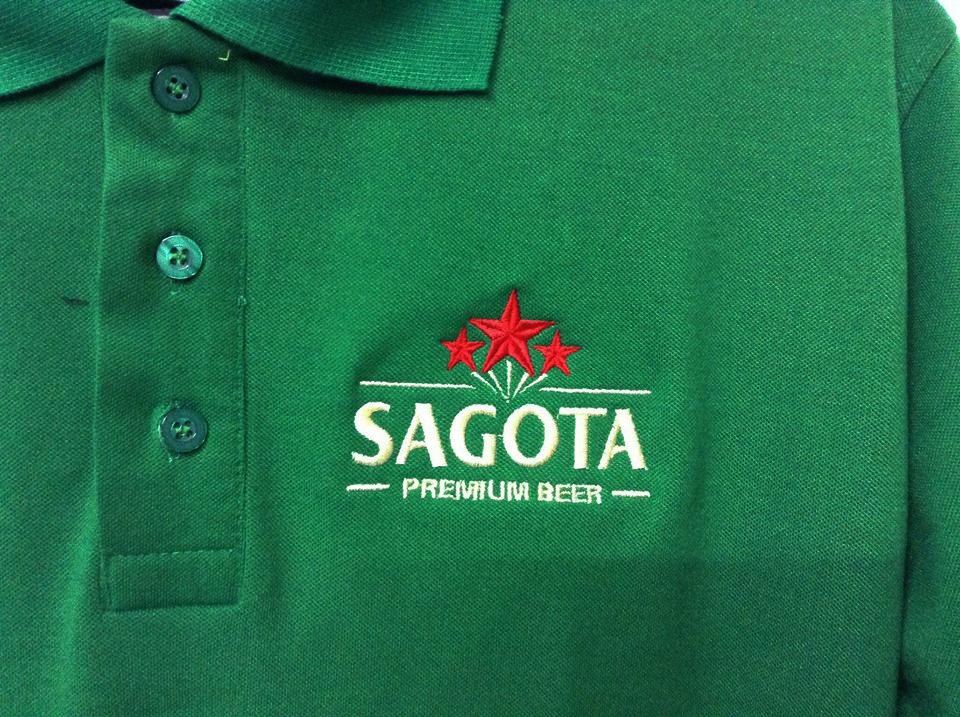 Sản phẩm áo đồng phục của công ty bia Sagota áp dụng công nghệ thêu