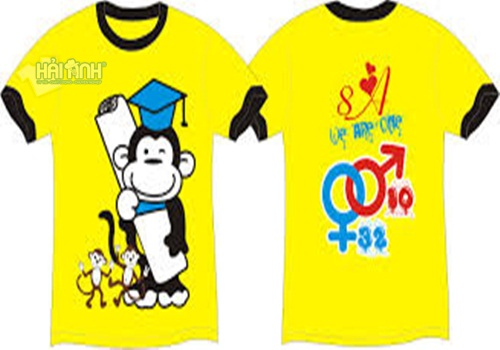 Ý tưởng thiết kế áo đồng phục lớp có con khỉ là hình in chủ đạo